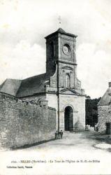 Carte postale église grand mur avec enfants